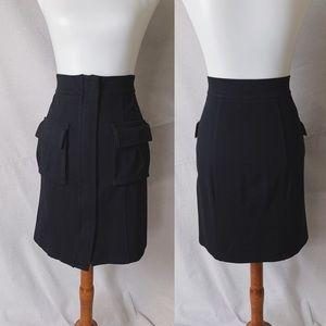 DVF Front Pocket Stretch Ponte Skirt Black Sz 2